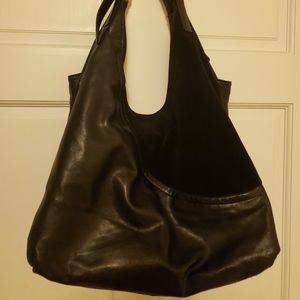 DVF Black Leather Suede Hobo Hand Bag Purse